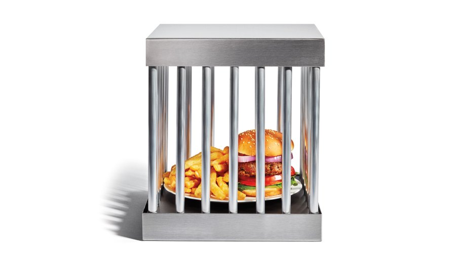 Burger and fries locked away to represent intermittent fasting
