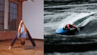 Forward Fold With Hands Overhead yoga position and Ben Marr, professional whitewater kayaker