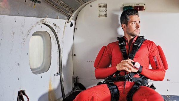 Zachary Levi in plane before skydiving
