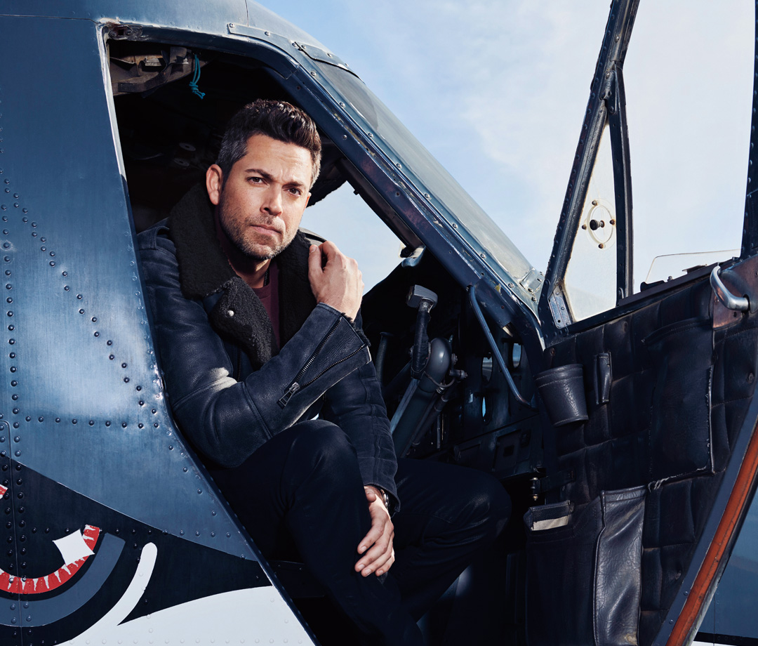 Close-up of Zachary Levi in plane