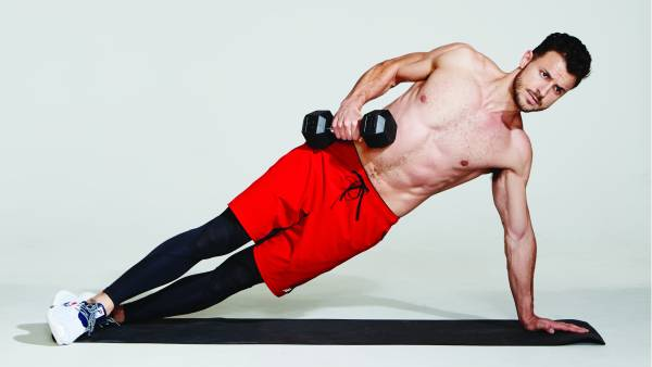 dumbbell side planks