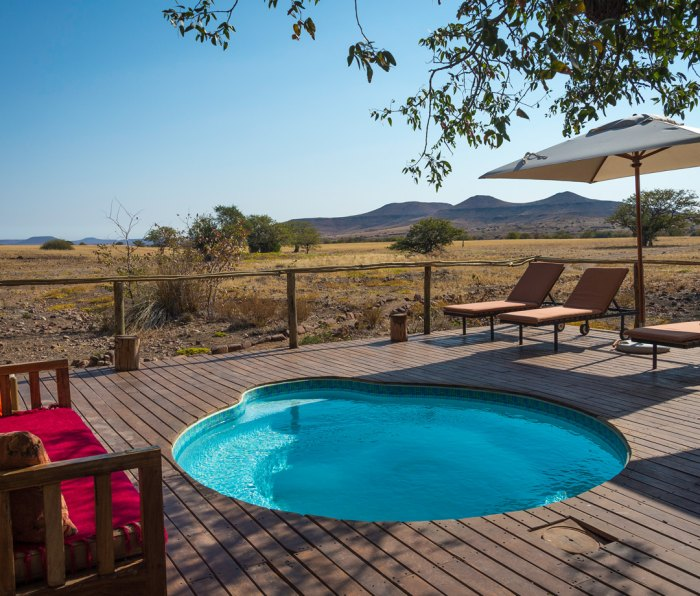 Pool at Desert Rhino Camp in Damaraland, Namibia
