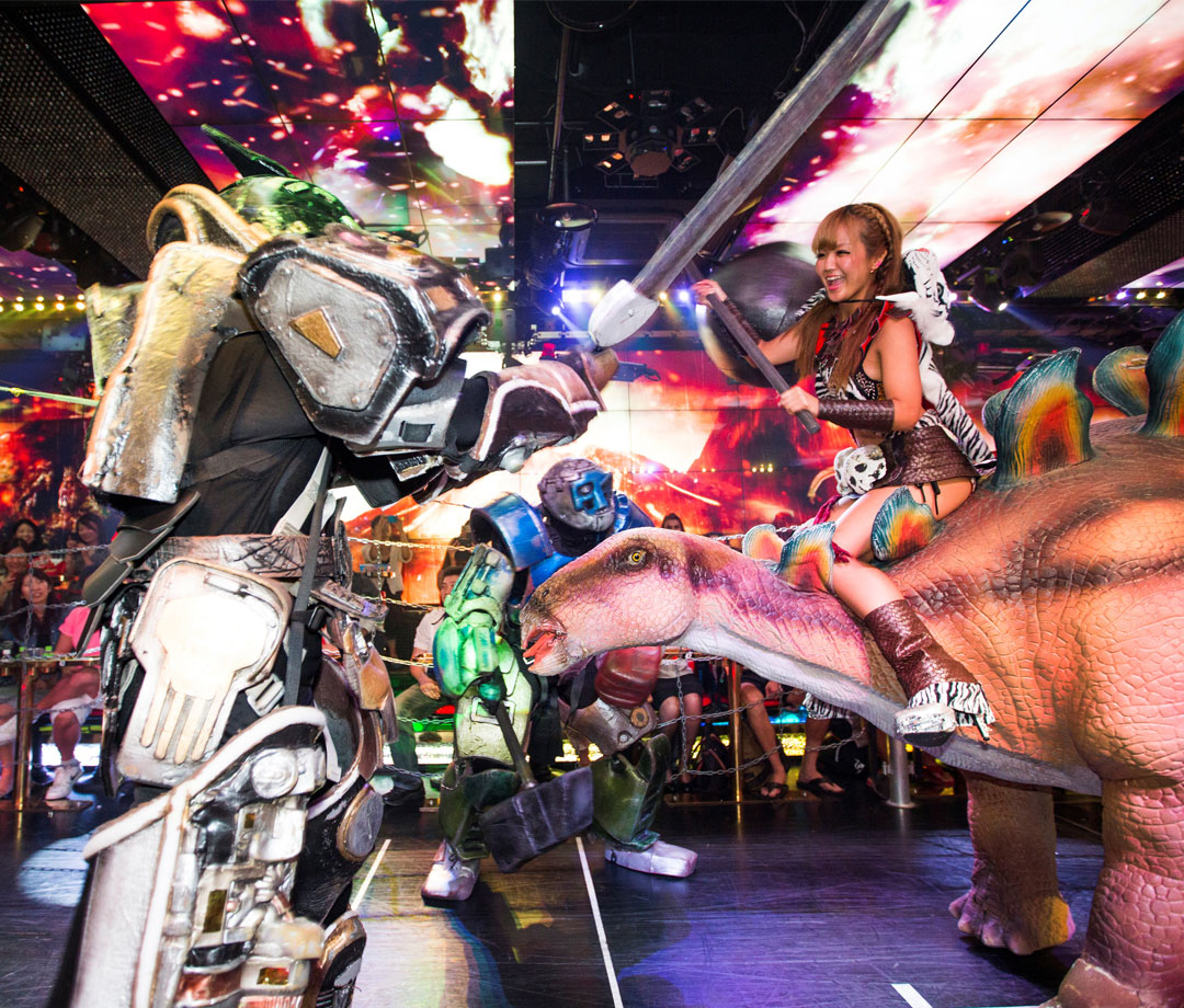 The Robot Restaurant performance. Show of gigantic female machines