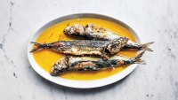 Fried marinated sardines with saffron