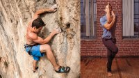 Rock climber and man doing Eagle Pose