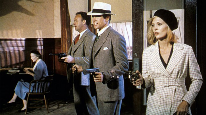 American actors Gene Hackman, Warren Beatty, and Faye Dunaway on the set of Bonnie and Clyde, directed by Arthur Penn. (Photo by Sunset Boulevard/Corbis via Getty Images)