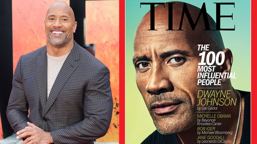 L: LONDON, ENGLAND - APRIL 11: Dwayne Johnson attends the European Premiere of 'Rampage' at Cineworld Leicester Square on April 11, 2018 in London, England. (Photo by Samir Hussein/Samir Hussein/WireImage), R: Dwayne Johnson, TIME Cover, Pari Dukovic for TIME