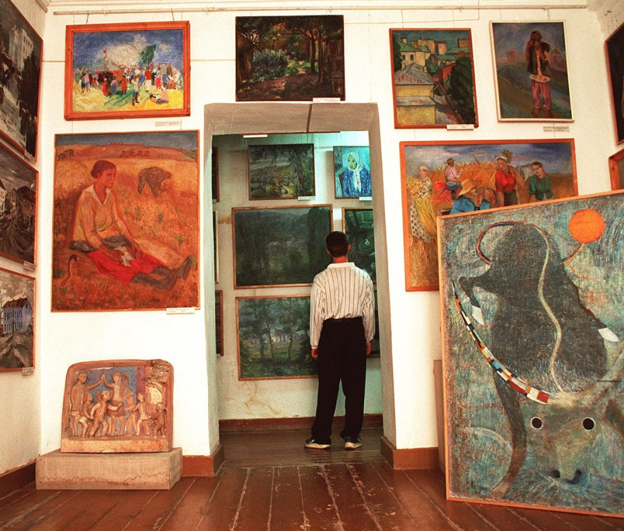 extensive collection of gulag-era art in a museum in Nukus, Uzbekistan in October 2001