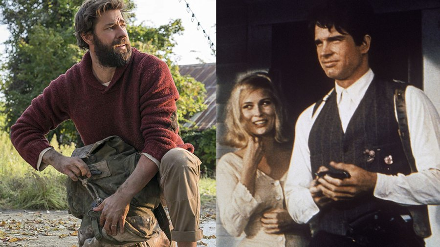 L: Paramount Pictures A Quiet Place, R: American actor Warren Beatty with female counterpart Faye Dunaway on the set of crime thriller film 'Bonnie and Clyde', directed by Arthur Penn. 1967. (Photo by STILLS/Gamma-Rapho via Getty Images)