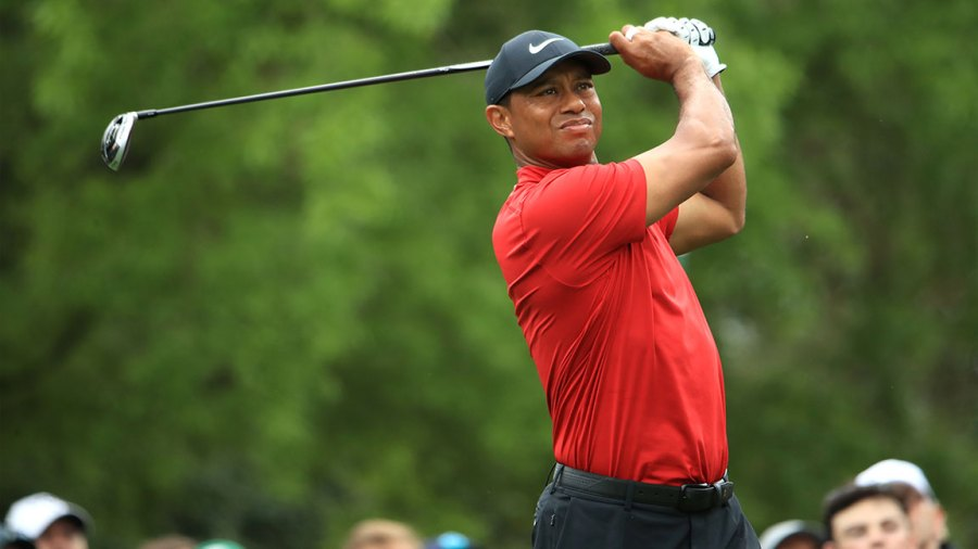 AUGUSTA, GEORGIA - APRIL 14: Tiger Woods of the United States plays a shot from the fifth tee during the final round of the Masters at Augusta National Golf Club on April 14, 2019 in Augusta, Georgia. (Photo by Andrew Redington/Getty Images)