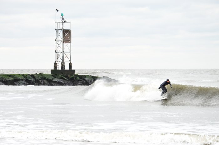 photo of a surfer in Delaware.