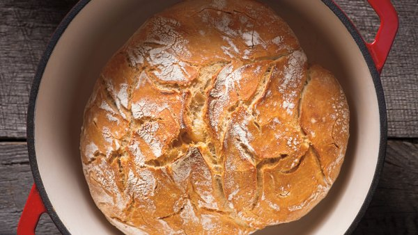 Bread baked in a Dutch oven.