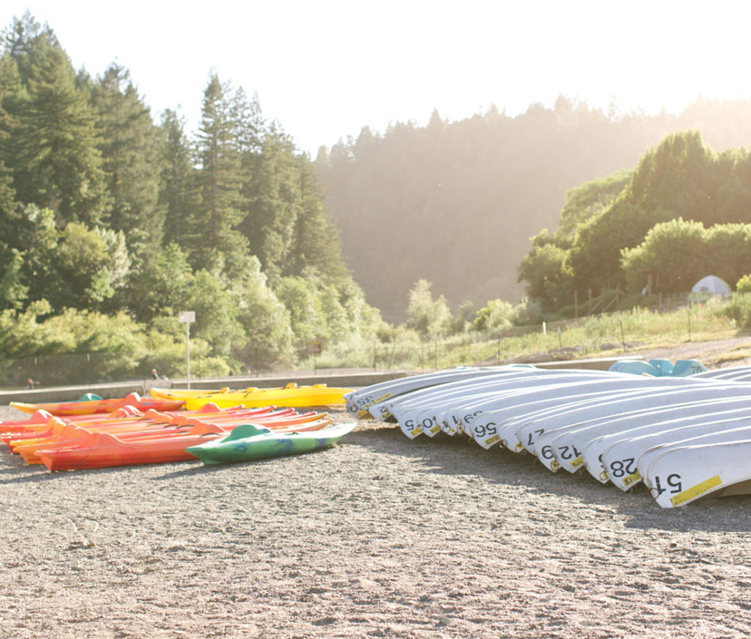 Canoes and kayaks at AutoCamp