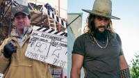 R: Jason Momoa, L: American actor Sylvester Stallone on the set of Cliffhanger directed and produced by Finnish Renny Harlin. (Photo by Leonello Bertolucci/Sygma via Getty Images)