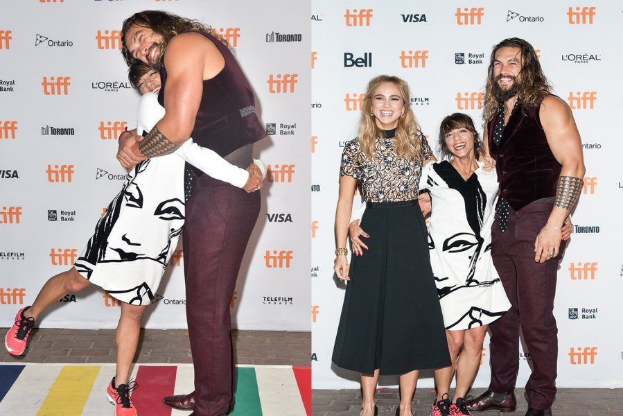 "L: TORONTO, ON - SEPTEMBER 13: Director Ana Lily Amirpour and actor Jason Momoa attend 'The Bad Batch' premiere during the 2016 Toronto International Film Festival at the Ryerson Theatre on September 13, 2016 in Toronto, Canada. (Photo by Dominik Magdziak Photography/WireImage), R: TORONTO, ON - SEPTEMBER 13: (L-R) Actress Suki Waterhouse, Director Ana Lily Amirpour and Actor Jason Momoa attend the premier of ""The Bad Batch"" at Ryerson Theatre on September 13, 2016 in Toronto, Canada. (Photo by Che Rosales/Getty Images)"