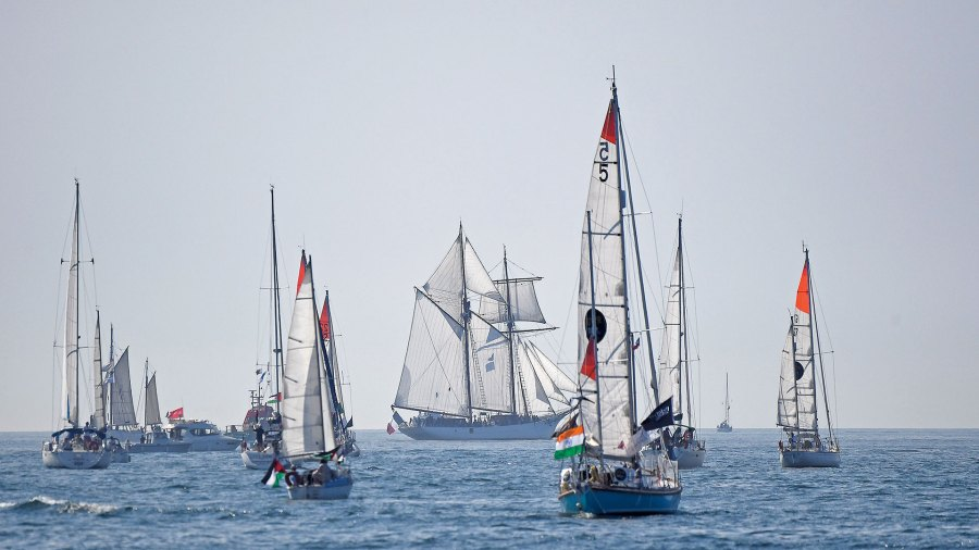 Launch day: The Golden Globe Race competitors set sail from France for their round-the-world journey.