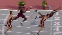 Texas A&M hurdler Infinite Tucker - Full Superman dive