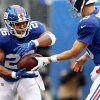 EAST RUTHERFORD, NJ - SEPTEMBER 09: (NEW YORK DAILIES OUT) Saquon Barkley #26 and Eli Manning #10 of the New York Giants in action against the Jacksonville Jaguars on September 9, 2018 at MetLife Stadium in East Rutherford, New Jersey. The Jaguars defeated the Giants 20-15. (Photo by Jim McIsaac/Getty Images)