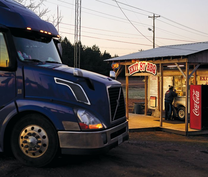 a truck pulls up for a morning meal.