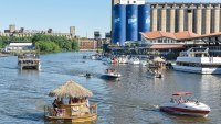 The new Buffalo RiverWorks, former grain elevators now home to a brewery, a restaurant, and a recreational sports complex.