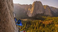 Two rock climbers on portaledges on triple direct, El Capitan, Yosemite Valley, California,