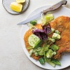 Pork schnitzel with avocado ranch