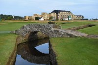 World's Best Golf Courses - ST ANDREWS, SCOTLAND - JULY 25: A view of the bridge over the burn on the 18th fairway and the Old Course Hotel during the Practice Round ahead of The Senior Open presented by Rolex at The Old Course on July 25, 2018 in St Andrews, Scotland. (Photo by Tony Marshall/Getty Images)