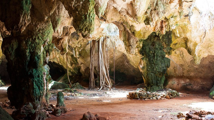 LONG ISLAND, THE BAHAMAS - JUNE 15: Rock formations inside Hamilton's Cave, where Lucayan artifacts were discovered, today it is still a hurrican shelter on June 15, 2012 in Long Island, The Bahamas. (Photo by EyesWideOpen/Getty Images)