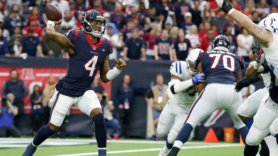 HOUSTON, TX - JANUARY 05: Deshaun Watson #4 of the Houston Texans looks to pass under pressure by Margus Hunt #92 of the Indianapolis Colts in the second quarter during the Wild Card Round at NRG Stadium on January 5, 2019 in Houston, Texas. (Photo by Tim Warner/Getty Images)