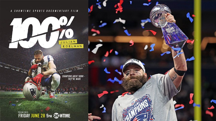 Julian Edelman 100% / L: Courtesy of Showtime / R: ATLANTA, GEORGIA - FEBRUARY 03: Julian Edelman #11 of the New England Patriots celebrates his teams 13-3 win over the Los Angeles Rams with the Vince Lombardi Trophyduring Super Bowl LIII at Mercedes-Benz Stadium on February 03, 2019 in Atlanta, Georgia. (Photo by Patrick Smith/Getty Images)