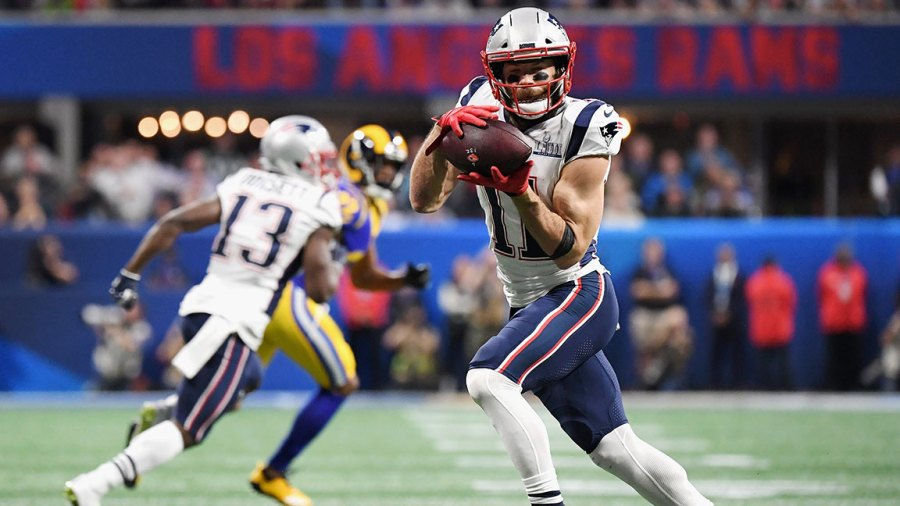 ATLANTA, GA - FEBRUARY 03: Julian Edelman #11 of the New England Patriots catches a pass against the Los Angeles Rams in the first half of the Super Bowl LIII at Mercedes-Benz Stadium on February 3, 2019 in Atlanta, Georgia. (Photo by Harry How/Getty Images)