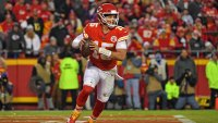 KANSAS CITY, MO - DECEMBER 30: Quarterback Patrick Mahomes #15 of the Kansas City Chiefs rolls out on a pass play against the Oakland Raiders during the second half at Arrowhead Stadium on December 30, 2018 in Kansas City, Missouri. (Photo by Peter G. Aiken/Getty Images)