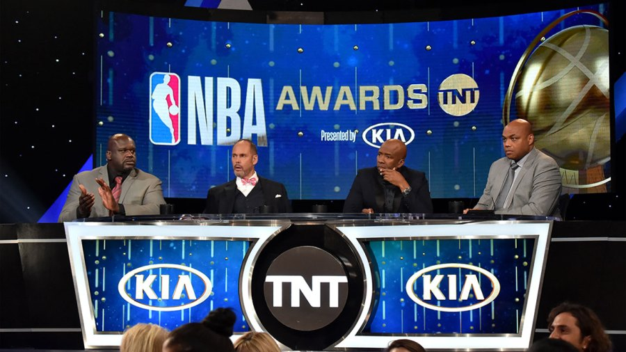 SANTA MONICA, CA - JUNE 25: (L-R) Shaquille O'Neal, Ernie Johnson Jr., Kenny Smith, and Charles Barkley speak onstage at the 2018 NBA Awards at Barkar Hangar on June 25, 2018 in Santa Monica, California. (Photo by Kevin Mazur/Getty Images for Turner Sports)