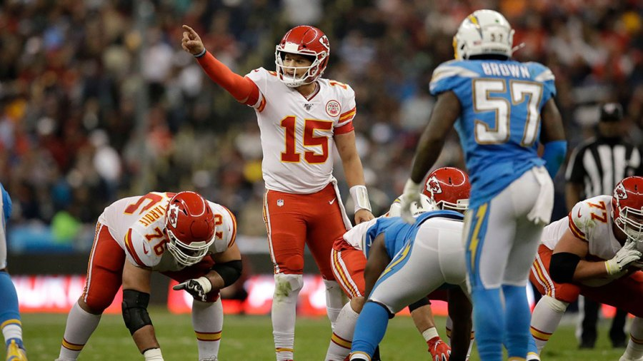 Chiefs Chargers Football, Mexico City, Mexico - 18 Nov 2019 Kansas City Chiefs quarterback Patrick Mahomes motions before a play during the second half of an NFL football game against the Los Angeles Chargers, in Mexico City 18 Nov 2019