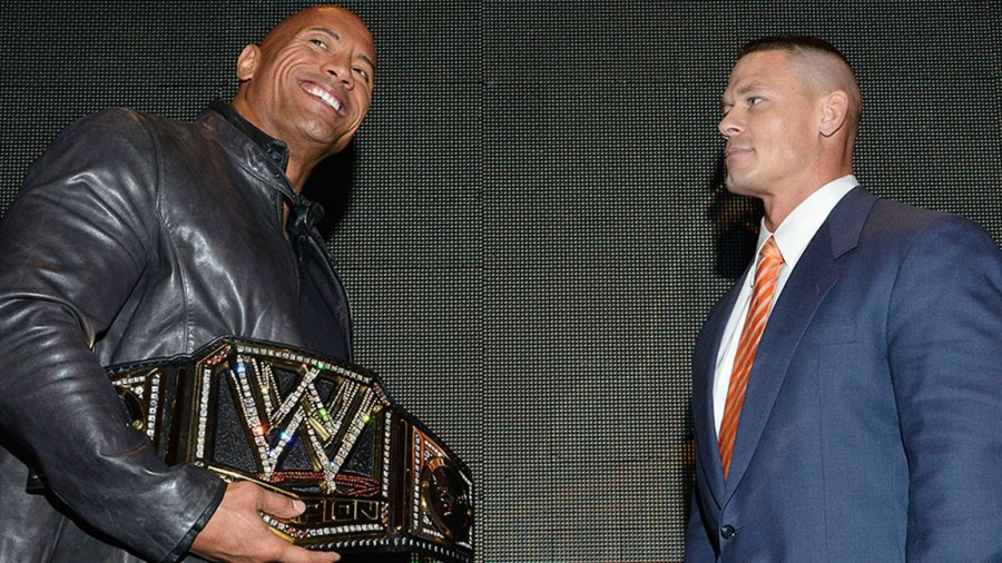 """NEW YORK, NY - APRIL 04: Dwayne """"The Rock"""" Johnson and John Cena attend the WrestleMania 29 Press Conference at Radio City Music Hall on April 4, 2013 in New York City. (Photo by Eugene Gologursky/WireImage)"""