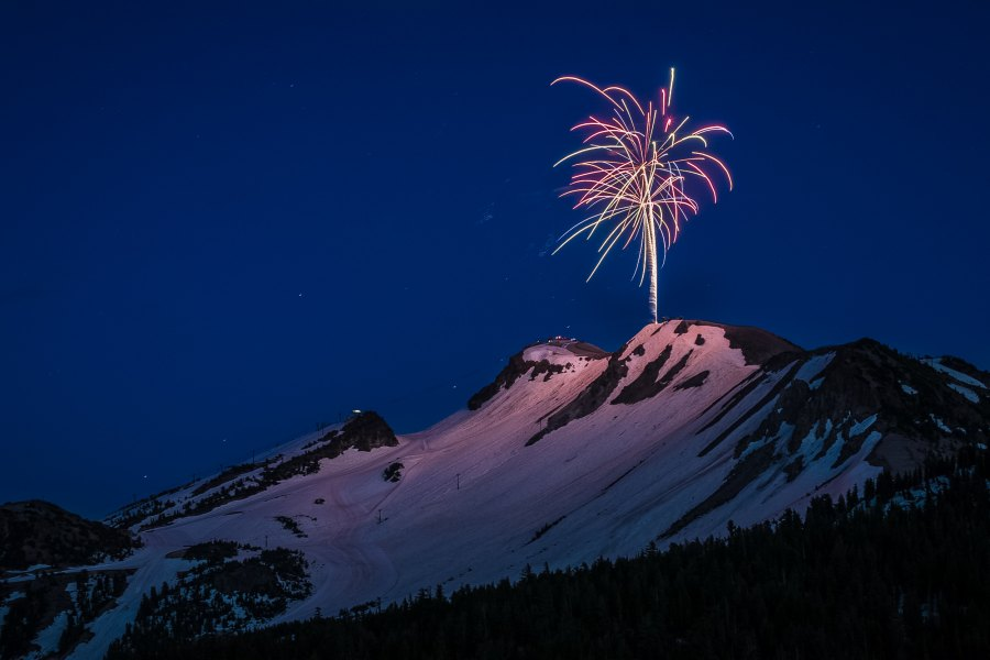 Fire works on Mammoth Mountain, CA - July 1, 2017