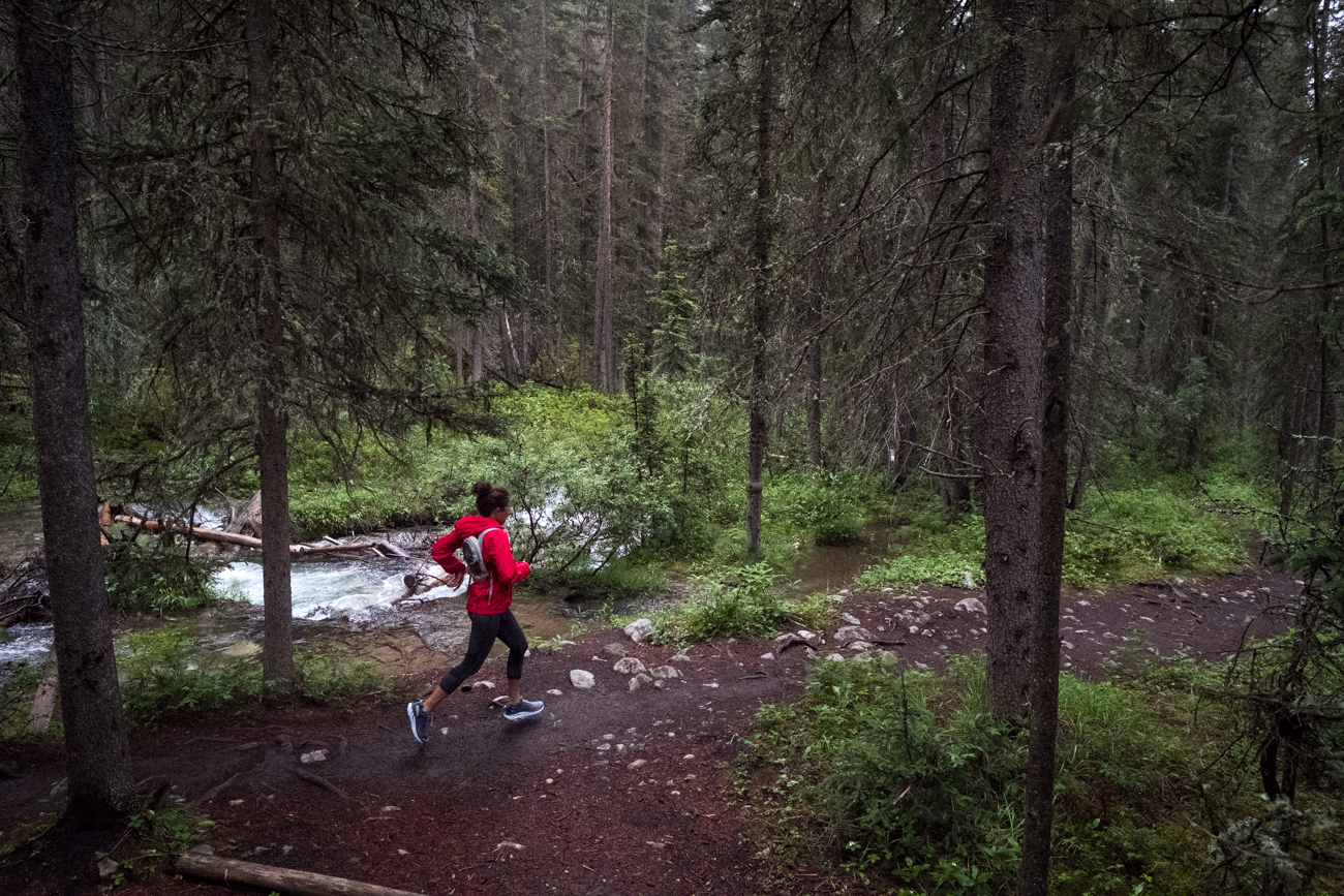 woman running in Banff National Park