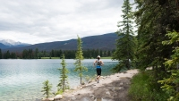 woman running in Jasper National Park