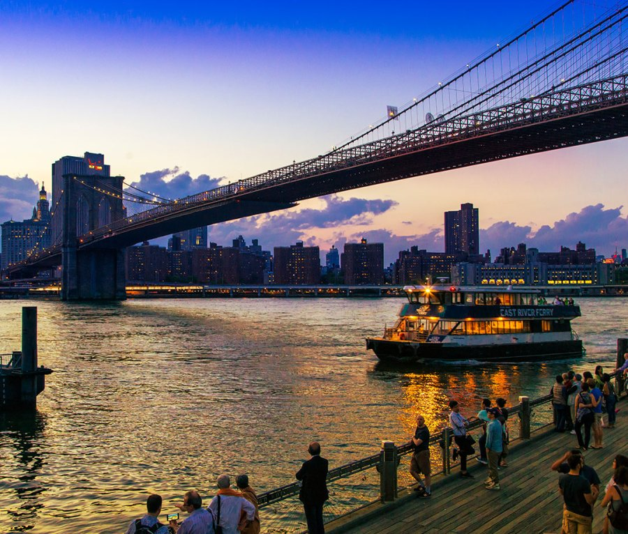 The view of Manhattan and the Brooklyn Bridge from Water Street in Brooklyn, NY