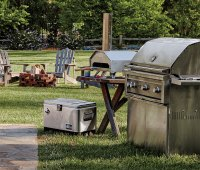 Backyard party grill, pizza oven, and cooler