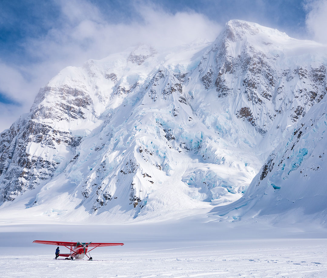 Cessna aircraft at the base of Denali