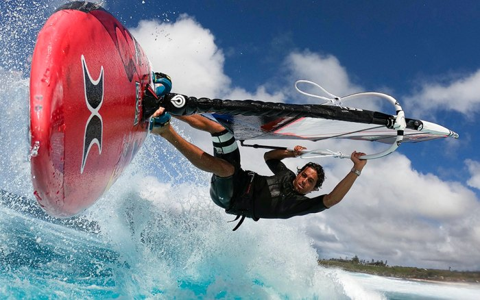 Beyond foiling and big wave surfing, Lenny also happens to be a world-class windsurfer.