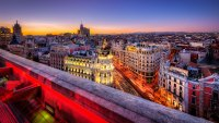 Sunset over city, Madrid, Spain