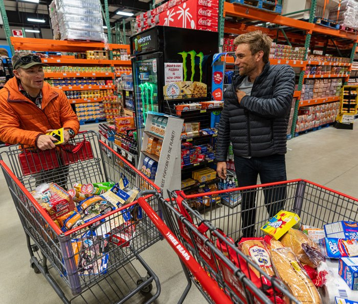 Jason Antin and Mike Chambers grocery shopping for Denali