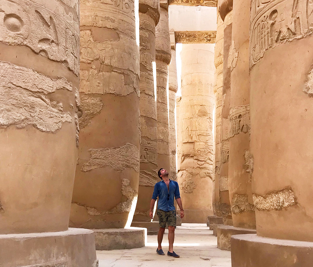 Author Ian Centrone exploring Karnak Temple