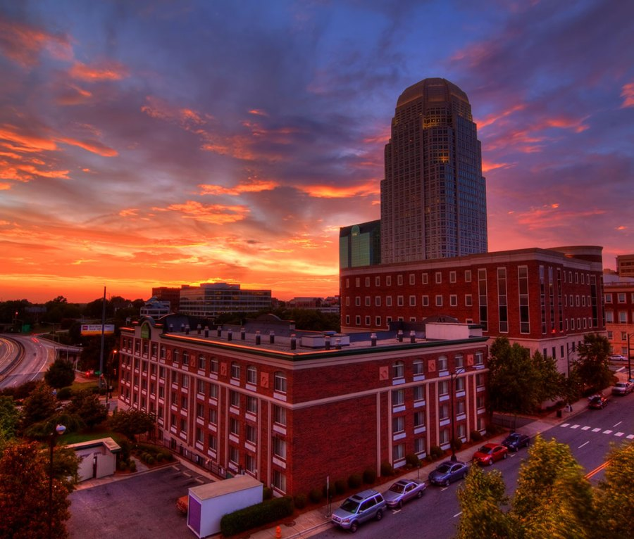 Downtown Winston-Salem at sunset in North Carolina