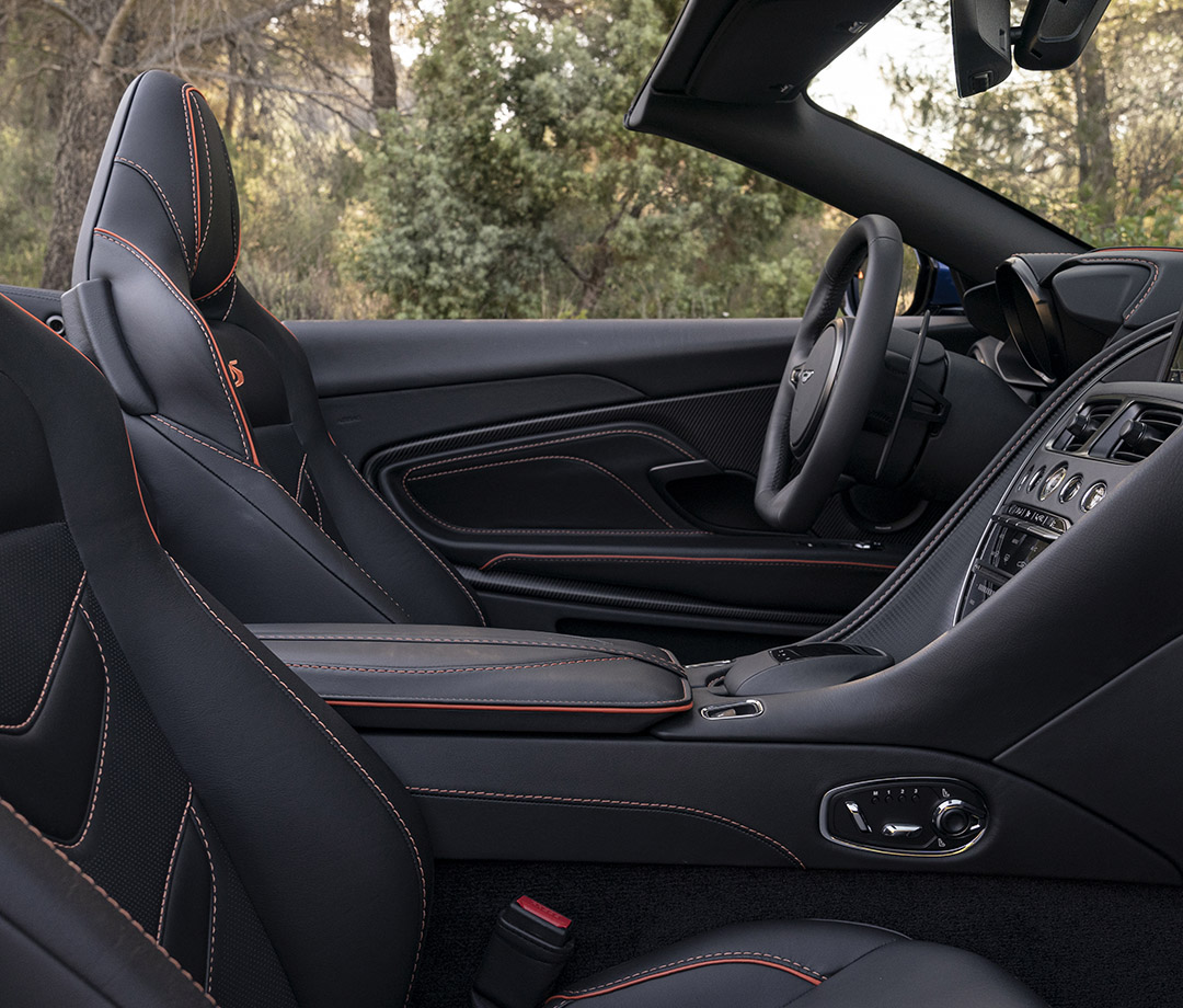 The interior of the 2020 DBS Superleggera Volante from Aston Martin