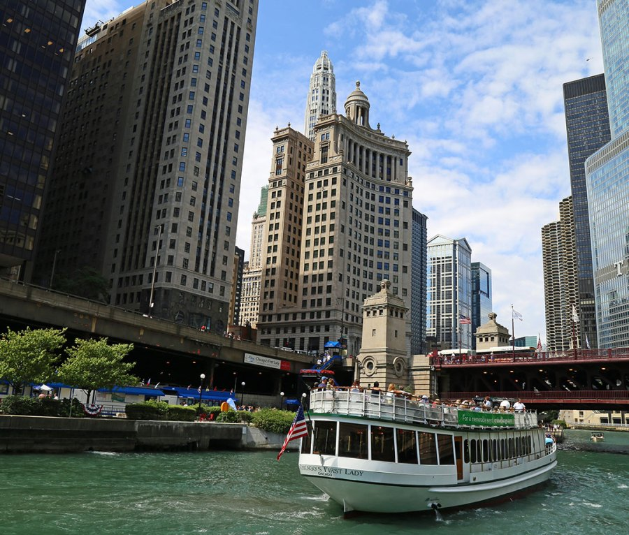 An architecture tour boat in Chicago, IL