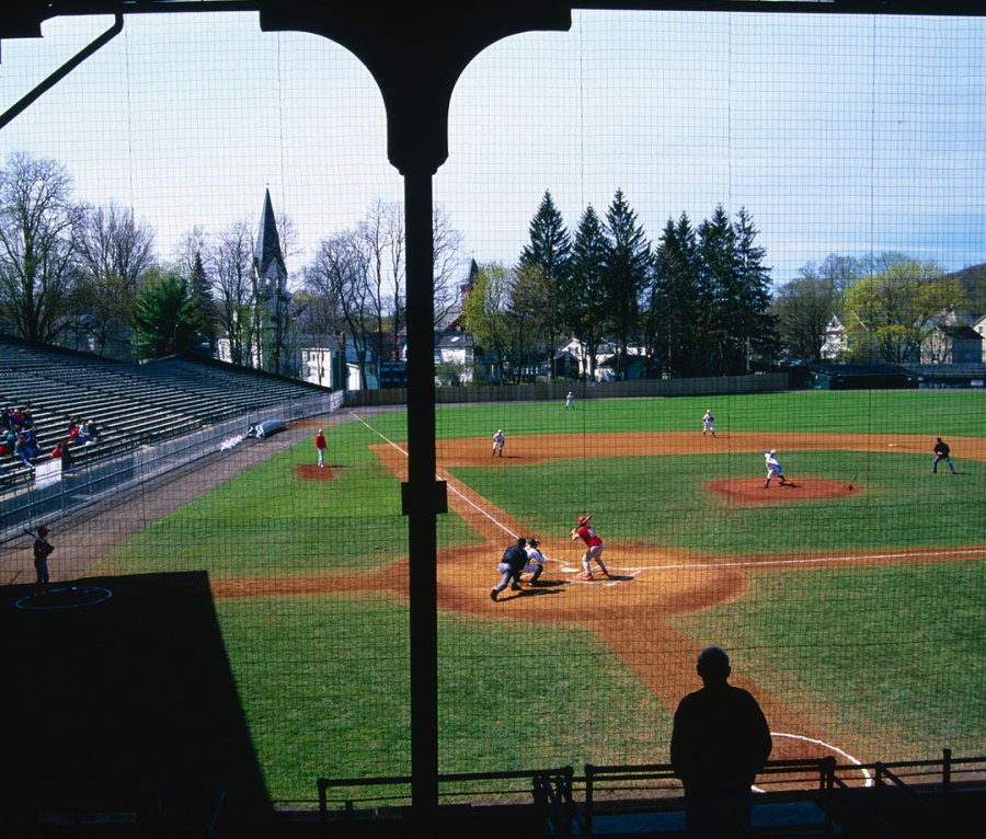 A baseball game at Doubleday Field in Cooperstown, NY