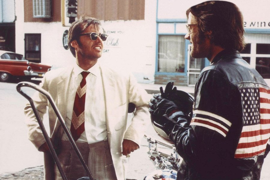 American actors Jack Nickolson and Peter Fonda on the set of Easy Rider, written and directed by actor Dennis Hopper. (Photo by Sunset Boulevard/Corbis via Getty Images)